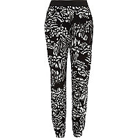 Girls black abstract animal print joggers
