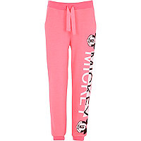 Girls pink Mickey hands print Joggers