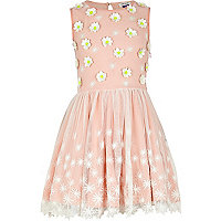 Girls pink lace flower prom dress