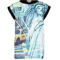 Girls blue broadway print airtex t-shirt