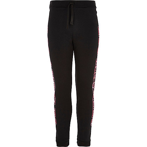 Girls black Los Angeles print joggers