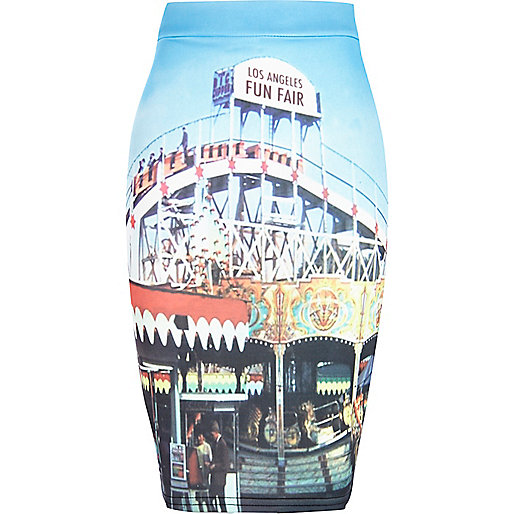 Girls blue fairground print tube skirt