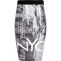 Girls black NYC city print tube skirt