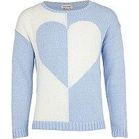 Girls blue contrast heart jumper