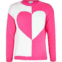 Girls pink contrast heart jumper