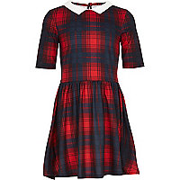 Girls red check molly dress