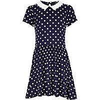 Girls navy polka dot molly dress