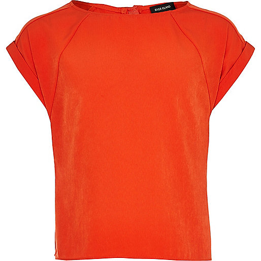 Girls orange short sleeve box t-shirt