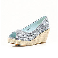 Girls blue denim glitter wedge shoes