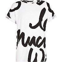 Girls white graffiti text t-shirt