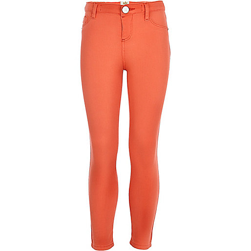 Girls orange denim jeggings