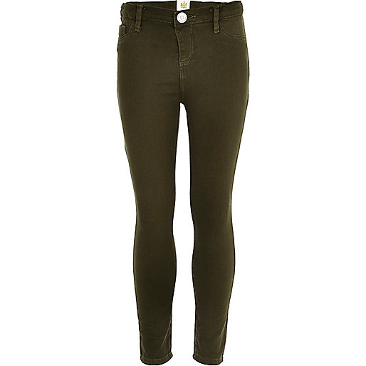 Girls khaki denim jeggings