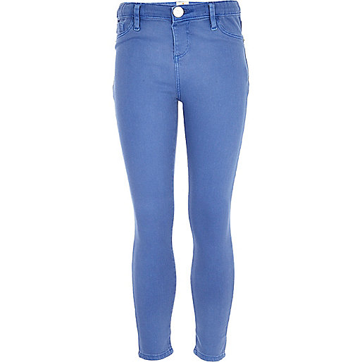 Girls blue cornflower denim jeggings