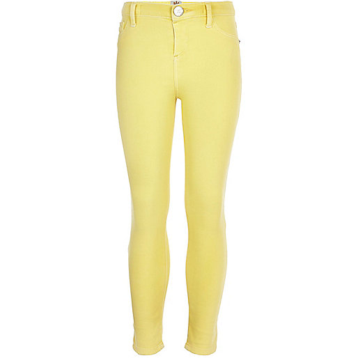 Girls yellow acid denim jeggings