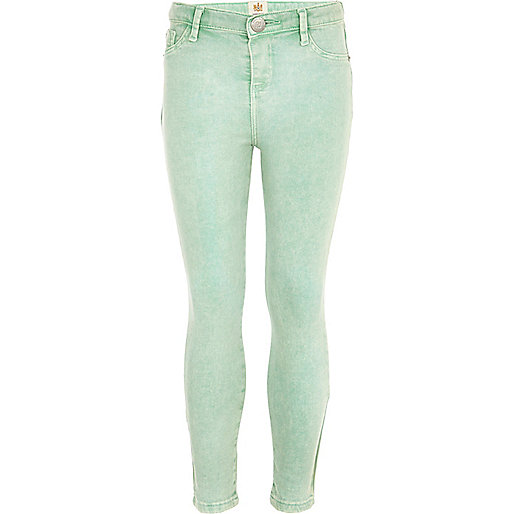 Girls green spearmint acid denim jeggings