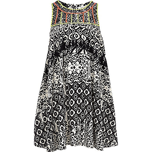 Girls black mono trapeze dress