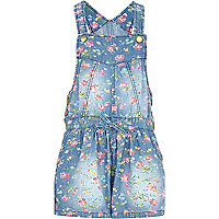 Girls floral light denim dungarees