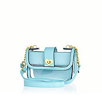 Girls blue perspex heart lock bag