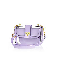 Girls purple perspex heart lock bag