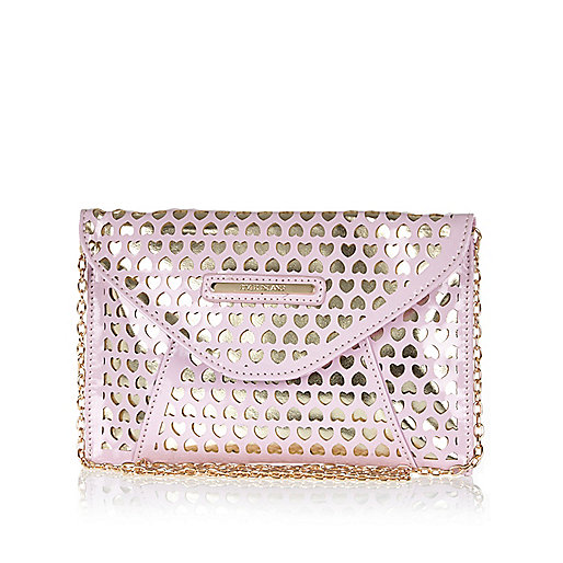 Girls pink lazer cut clutch bag