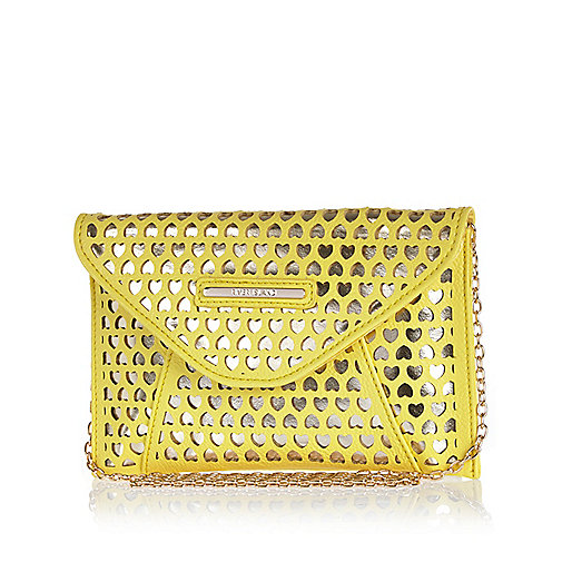 Girls yellow lazer cut clutch bag