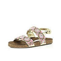 Girls gold embellished strap flatbead sandals