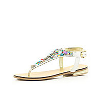 Girls white embellished sandals