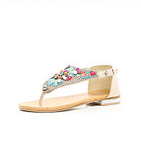 Girls pale pink embellished sandals