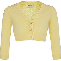 girls yellow cropped lace back cardigan