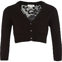 Girls black cropped lace back cardigan