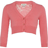 Girls pink cropped lace back cardigan