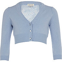 Girls blue cropped lace back cardigan