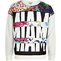 Girls white miami spliced print sweatshirt