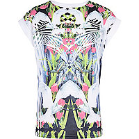 Girls white hummingbird print t-shirt