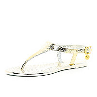 Girls gold metallic Y bar jelly sandals