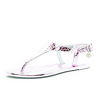 Girls pink metallic Y bar jelly sandals