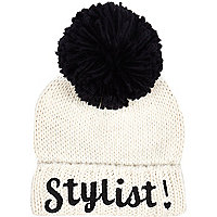 Girls cream stylist bobble beanie hat