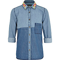 Girls denim embellished collar shirt