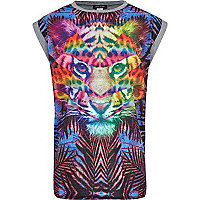 Girls blue tiger palm hybrid print t-shirt.