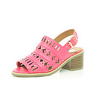 Girls pink cut out sandals