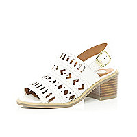Girls white cut out sandals