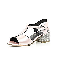 Girls light pink diamante block heel sandal