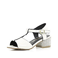 Girls white diamante block heel sandal