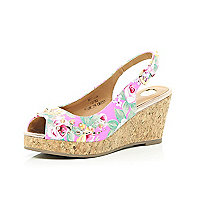 Girls pink floral peeptoe wedges