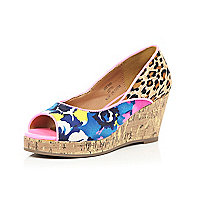 Girls leopard print and floral wedge shoe
