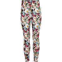 Girls pink daisy print leggings