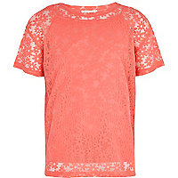 Girls pink oversized daisy mesh t-shirt