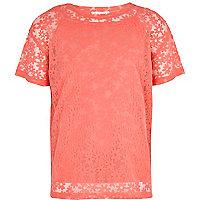 Girls pink oversized daisy mesh t-shirt