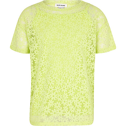 Girls lime oversized daisy mesh t-shirt