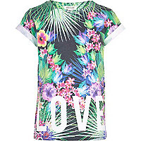 Girls tropical print Love Life print t-shirt
